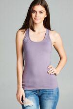 Women's Racerback COTTON Tank Top Soft Stretchy Basic Sleeveless Tee #T1734 3910