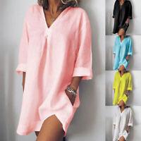 Women Cotton Linen V-Neck Loose T-Shirts Casual Short Dress with Pocket Summer