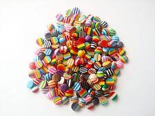50 Multi Color a Rayas Redondo Resina Cabujones reverso plano - 10 mm Colores Surtidos