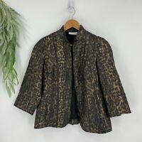 Chico's Eleanor Blazer Womens Size 0 S Brown Black Animal Print Metallic Jacket