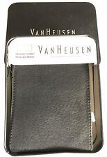 Van Heusen Men's Black Genuine Leather Passcase Bifold Billfold Wallet EDC
