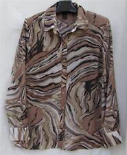 ASHELY STEWART Tunic Career Browns Animal Zebra Print Design TOP $3.50 SHIP 14W