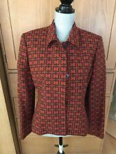 Oscar de la Renta Wool Suit Size 10 - Geometric Greek Key - Brown & Rust