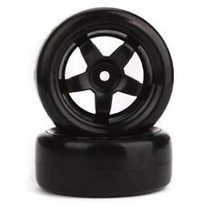 4PCS Black Wheel Rims + Smooth Plastic Tires for RC 1: 10 Racing Drift Car