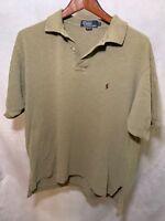Mens Polo Ralph Lauren Cotton Shirt Size Large L Short Sleeve Brown