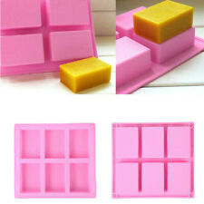 6 Cavity Silicone Rectangle Soap Mould Homemade DIY Cake Making Mold Craft UK