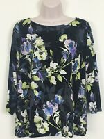 J Jill Wearever Collection Top Small Petite Black Pink Floral 3/4 Sleeve Blouse