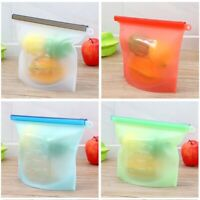 Reusable Silicone Storage Food Safer Snack Sandwich Bags Set of 4 1500ml 1000m