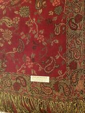 Women's Pashmina Wrap Scarf Shawl-Paisley Black Red Gold Silk Cashmere*Soft