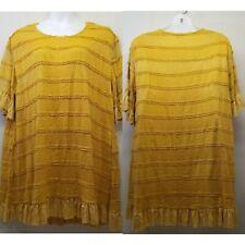 Umgee 2XL Mustard Yellow Tunic Dress Lined Lacy Boho Chic Lagenlook Ruffle Lace