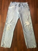 Vintage Wrangler Light Wash Distressed Jeans - Made in Mexico - 34x30 (33x30)