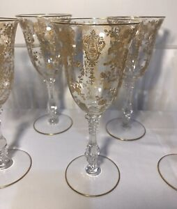 "Vintage Cambridge Glass Rose Point Gold Encrusted 8 1/4"" Water Wine Stem Goblet"