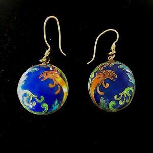 Vintage 12K Gold Filled Asian Dragon Enamel Earrings Drop Dangle Cobalt Blue