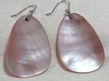 Pink Shell Elongated Dangle Sterling Earrings
