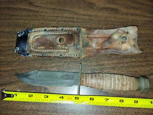 """Ontario Airforce Survival Knife 5"""" Carbon Steel Blade vintage"""