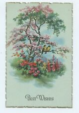 Best Wishes Deckle Edge Bird and Tree Postcard