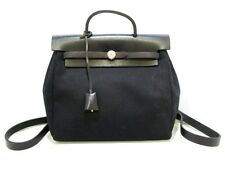 Auth HERMES Her Bag a Dos Black Toile Officier Box Calf Square C Backpack