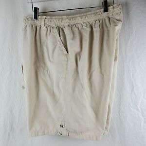Karen Scott Sport Womens Plus 1X Walking Drawstring Shorts Light Khaki Pockets