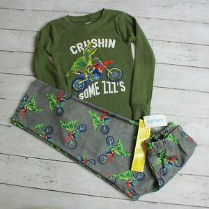 Carter's Boy Pajama Set Size 8 Dinosaur Bike 2 Piece