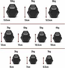 1-10kg Marcy's Hex Dumbbells Rubber Encased Weights Hexagonal Home Gym Fitness