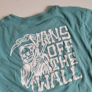 Vans off the Wall Graphic Tee T-shirt Large L 13 /14 Teal Skeleton bones