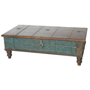 """50"""" L Samuels Trunk Coffee Table Kiln Dried Recycled Woods One of a Kind Rustic"""