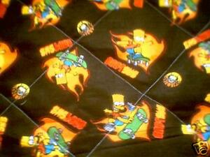 Baby blanket toddler quilt lap robe Bart Simpson Sk8