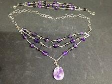 925 Sterling Silver Amethyst & Smokey Quartz Necklace & Bracelet Ref 46 & 71