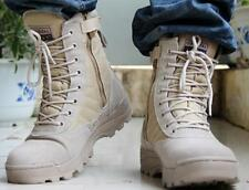 Men's Military Combat Tactical Performance Boots Side Zipper Lace Up Flat Shoes