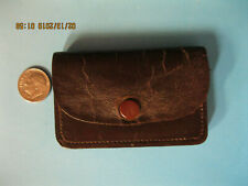 "3"" Leather Change Holder,Brown,Has 4 Coin Areas,Snap Closure,Vintage,Mid-Centu ry"
