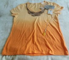 Chico's Women's Dip Dye Woods Seville Orange Top/Shirt Size 0 FREE Necklace