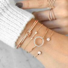 Women 4Pcs/Set Gold Arrow Knot Simple Adjustable Open Bangle Bracelets Jewelry