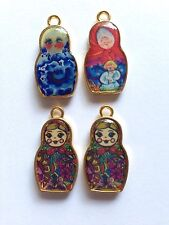 4 x ENAMELED RUSSIAN DOLL CHARMS VERY COLOURFUL 14mm x 26mm GOLD, SET NUMBER 3