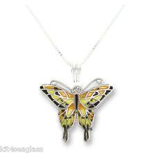 "Zarah Zarlite Tiger Swallowtail BUTTERFLY NECKLACE Silver Plated Enamel 18""  Box"