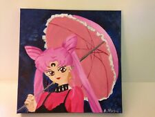 Black Lady Wicked Lady Sailor Moon Portrait Oil Painting OOAK 12 x 12
