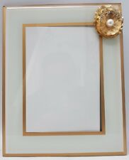 White Gold Sparkly Flower Photo Frame Diamante Pearl Effect 5X7 Inch Photo