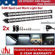 2x 20inch 54W Led Work Light Bar Spot Beam Slim Single Row Driving Offroad Lamp