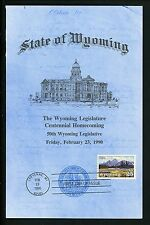 US FDC #2444 State of Wyoming Legislature 1990 Cheyenne WY Wyoming Statehood