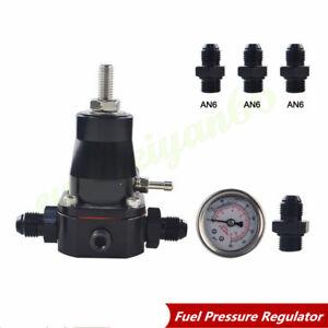 Pressure Adjustable Car CNC Aluminum Fuel Pressure Regulator+ Gauge+ AN6 Fitting