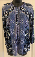 Pre-Owned Lucky Brand Blue Boho Long Sleeve Shirt Blouse Mixed Knit Top Small S