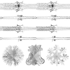 Snow White Christmas Foil Ceiling Decorations - White & Silver