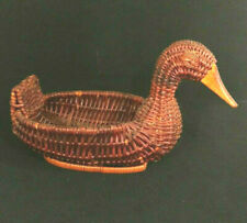 "Vintage 7"" Brown Wicker Duck Basket Country Farmhouse Primitive Man Cave Hunter"