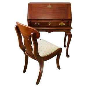 "Henkel Harris Solid Cherry ""Lady Astor"" Queen Anne Desk and Chair"