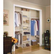 """Vertical Closet Organizer Clothes Storage Shelf System Wood Shelves 24"""" White"""