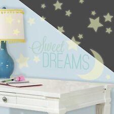 SWEET DREAMS GLOW IN DARK Wall Decals Stars Moon Nursery Room Decor Stickers