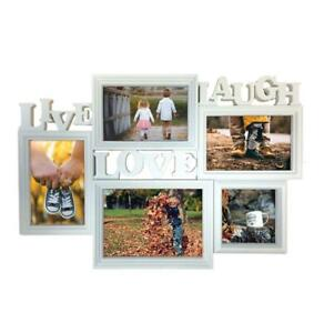 White Picture Frame LIVE LOVE LAUGH Hanging Gallery for 5 Photos in Various Size