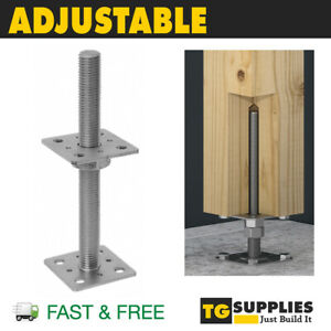Heavy Duty Galvanised Adjustable Post Support Bolt Down Height 25cm
