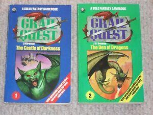 REDUCED Grail Quest Castle Darkness Den Dragons RPG Solo Fantasy Gamebooks 1984