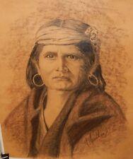 S.SEEDHAM ORIGINAL INDIAN WOMAN DRAWING