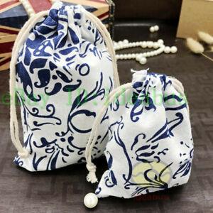 """12/25/50/100pcs Cotton Linen blends Print Pattern Drawstring Bags Pouches5.5""""x4"""""""